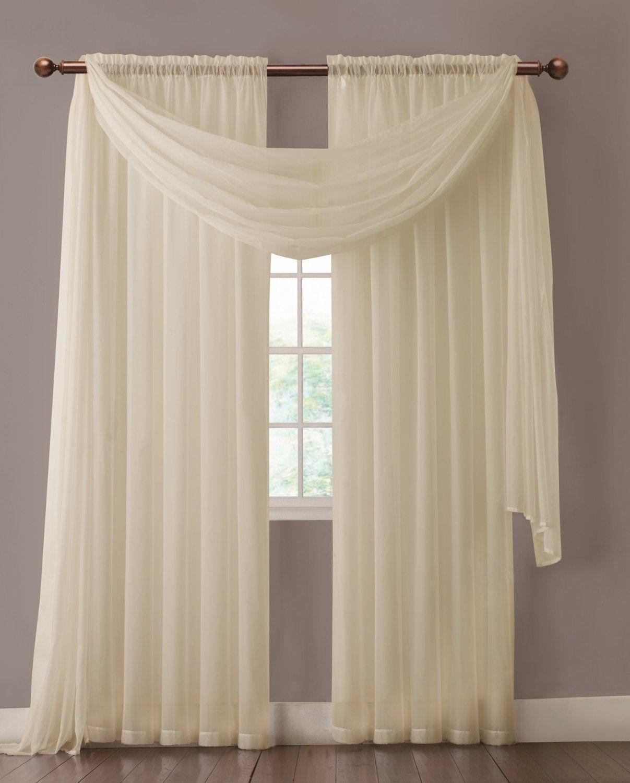 Amazon.com: Warm Home Designs 1 Pair of Beige Sheer Window Curtains ...