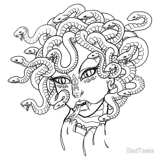 Medusa Essential T Shirt By Badtaste Medusa Drawing Easy Drawings Coloring Pages