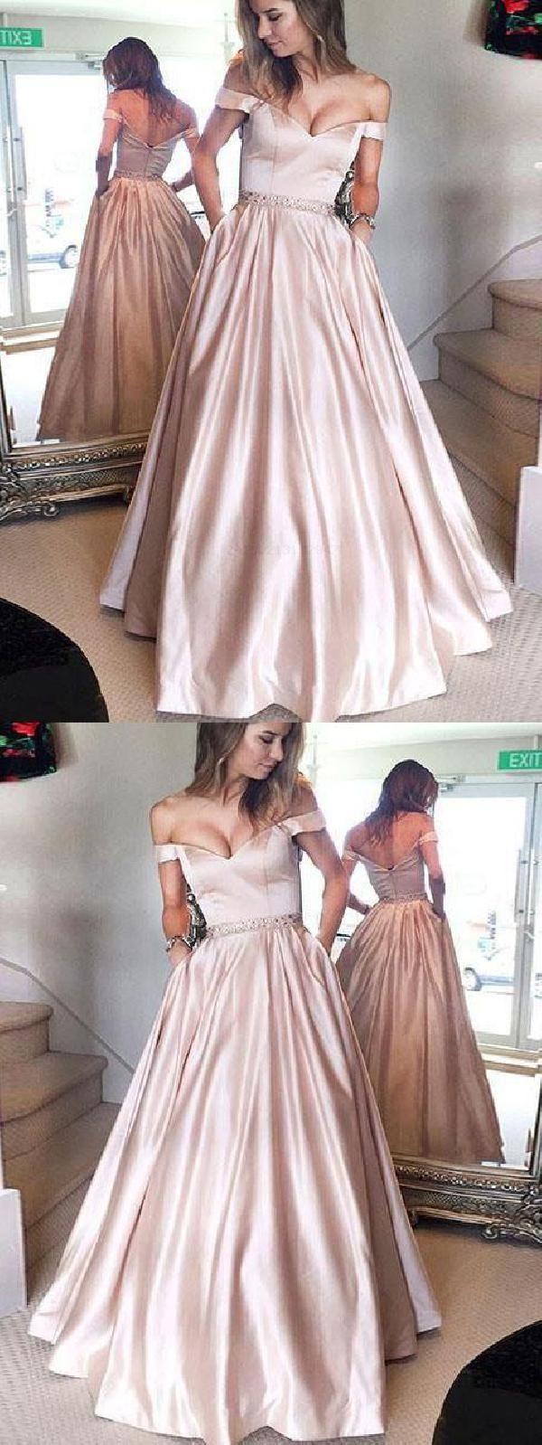 b78f19823fa Off Shoulder Pale Pink A-line Satin Beaded Prom Dresses Prom Dresses