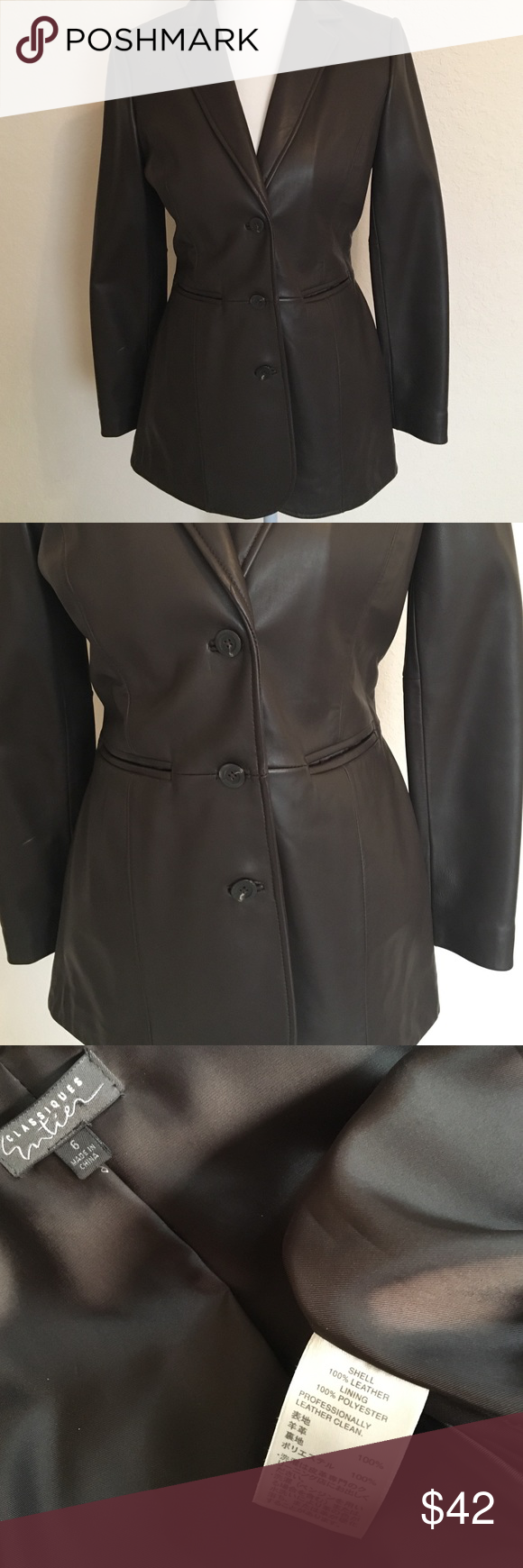 Classiques by Nordstrom 100 Leather Jacket/Size 6 Dark
