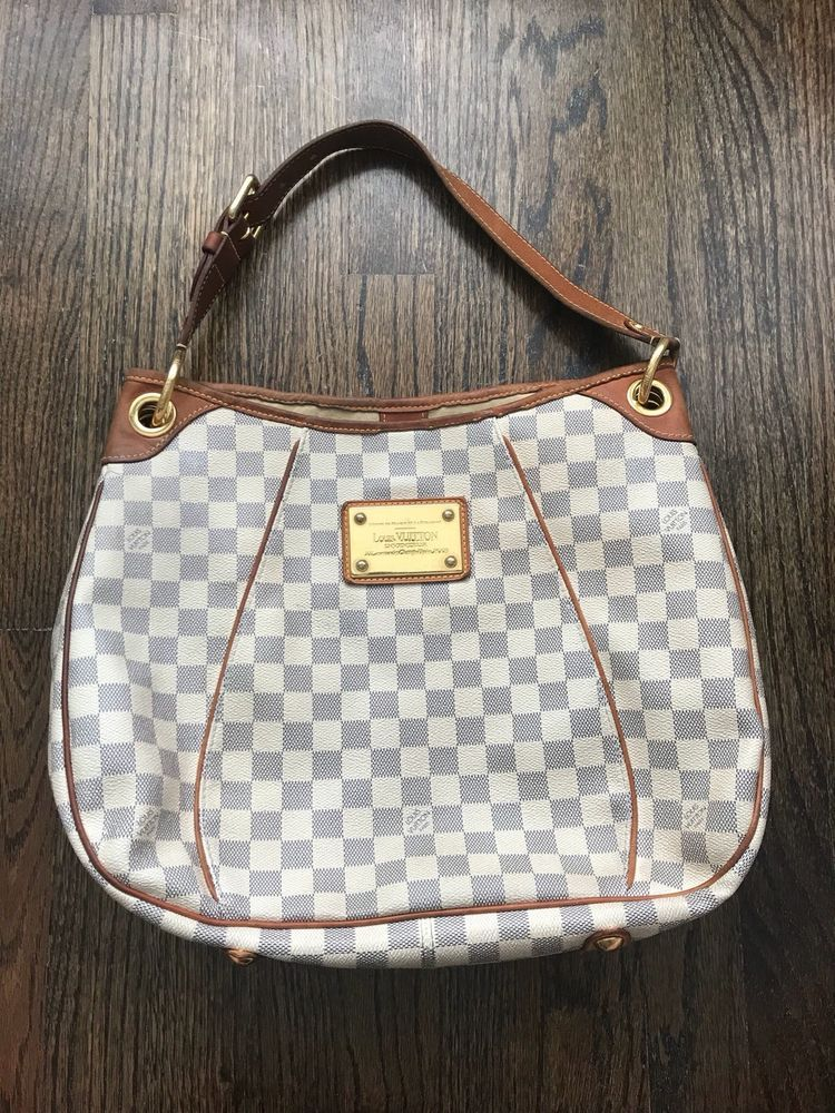 AUTHENTIC Louis Vuitton Damier Azur Galliera PM Hobo Handbag ... a446d4dc28e5b