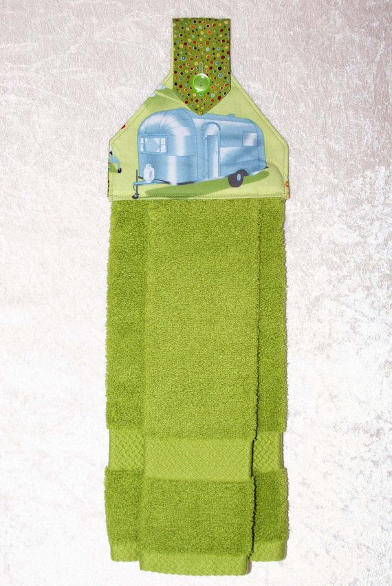 Hanging Kitchen Towel Green Tea Hand 6 Choices Retro Rv Decor Vintage Camping Glamping Gifts