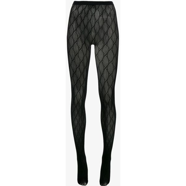 8b1e4172f88c9 Gucci GG Logo Tights (£75) ❤ liked on Polyvore featuring intimates,  hosiery, tights, gucci, patterned hosiery, print stockings, patterned  stockings and ...