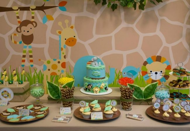 Boys First Birthday Jungle Themed Birthday Party Spaceships and