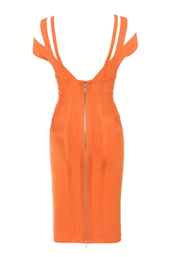 9d1ecf96ee99 Clothing : Bandage Dresses : 'Mimi' Orange Off Shoulder Lurex Bandage Dress