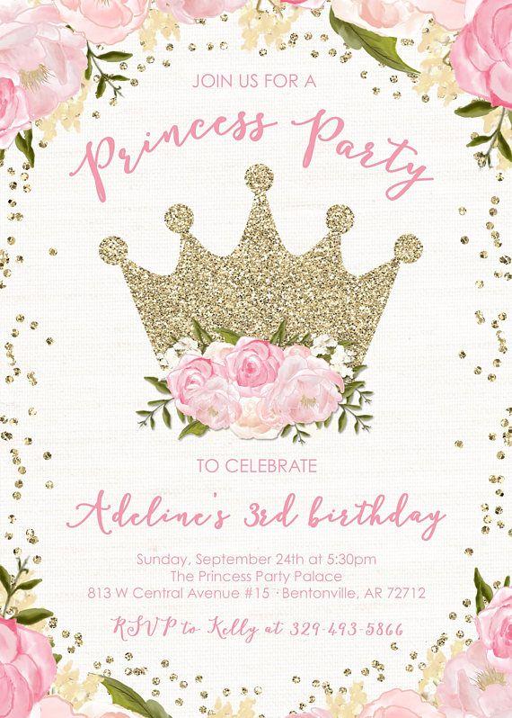 gold glitter princess invitation floral glitter royal princess birthday invitation pink gold glitter glitter crown invite royal princess party