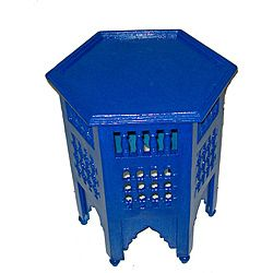 blue moroccan end table