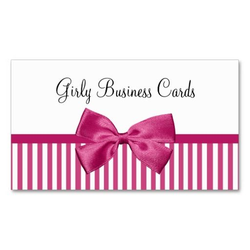 Girly Bright Pink And White Stripes Cute Pink Bow Business Card Zazzle Com Girly Business Cards Business Card Pattern White Business Card