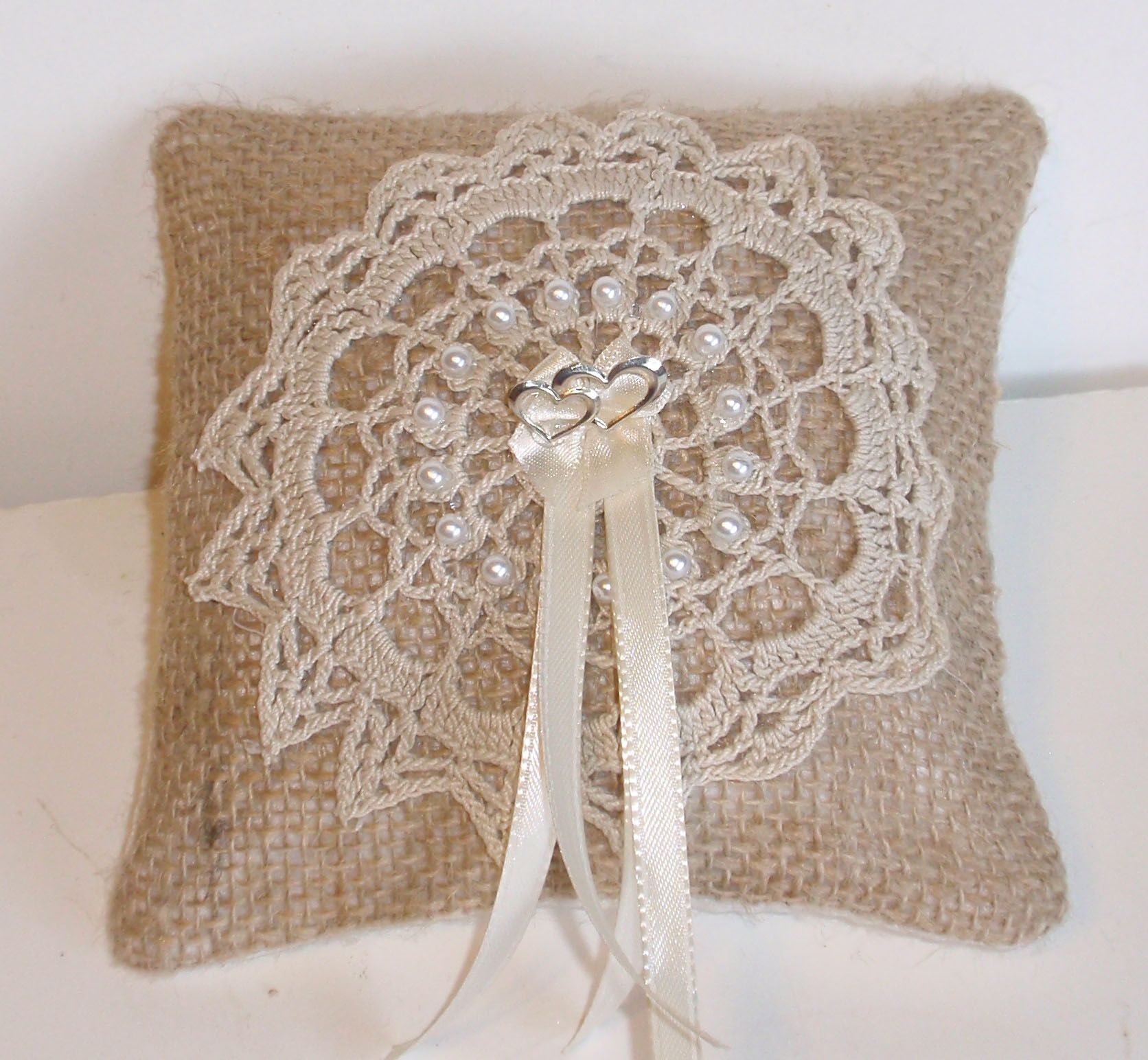 "6"" wedding ring pillow decorated with machine embroidered design"