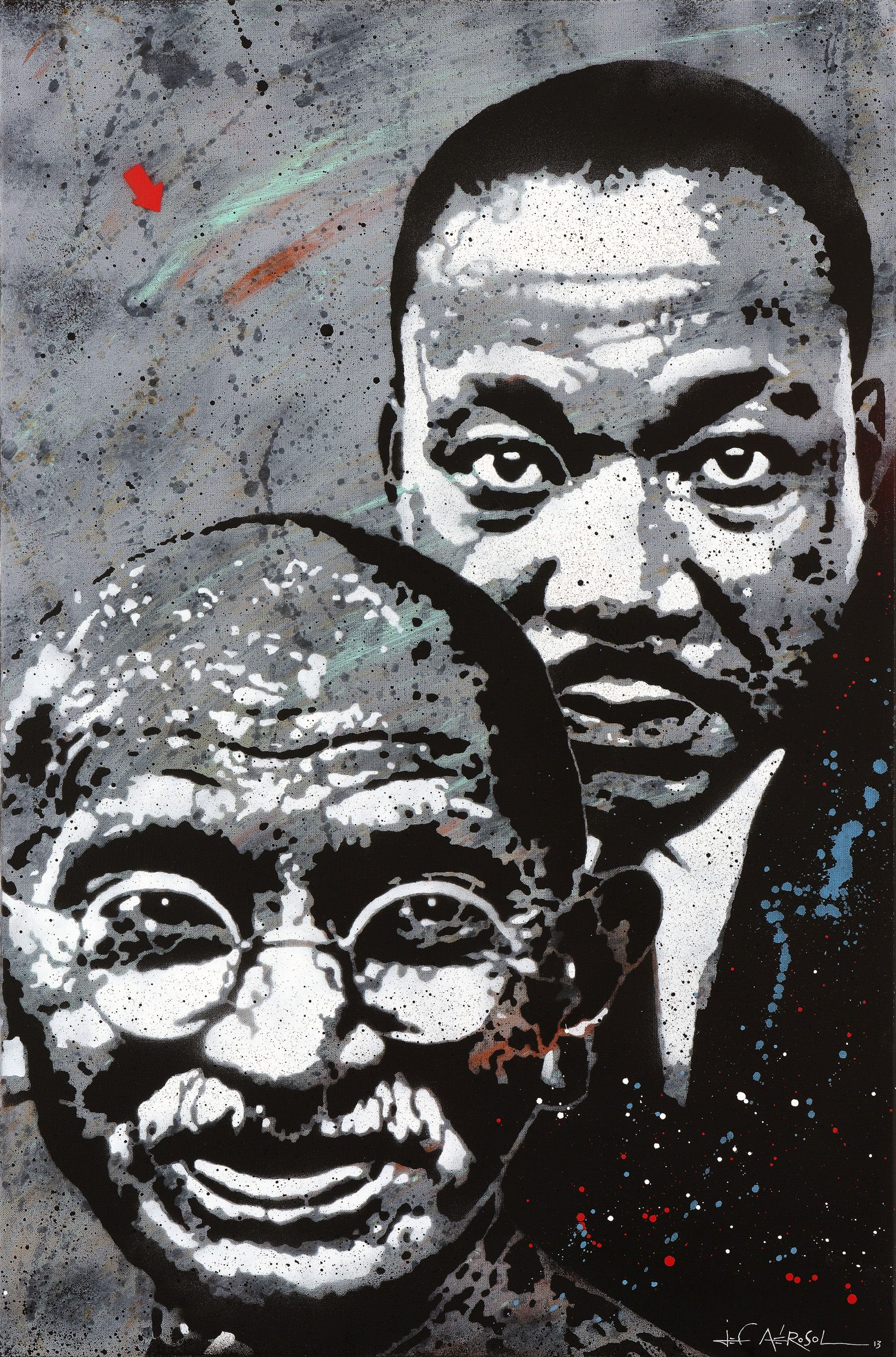 Jef Aerosol - Gandhi and Luther King - Stencil on Canvas