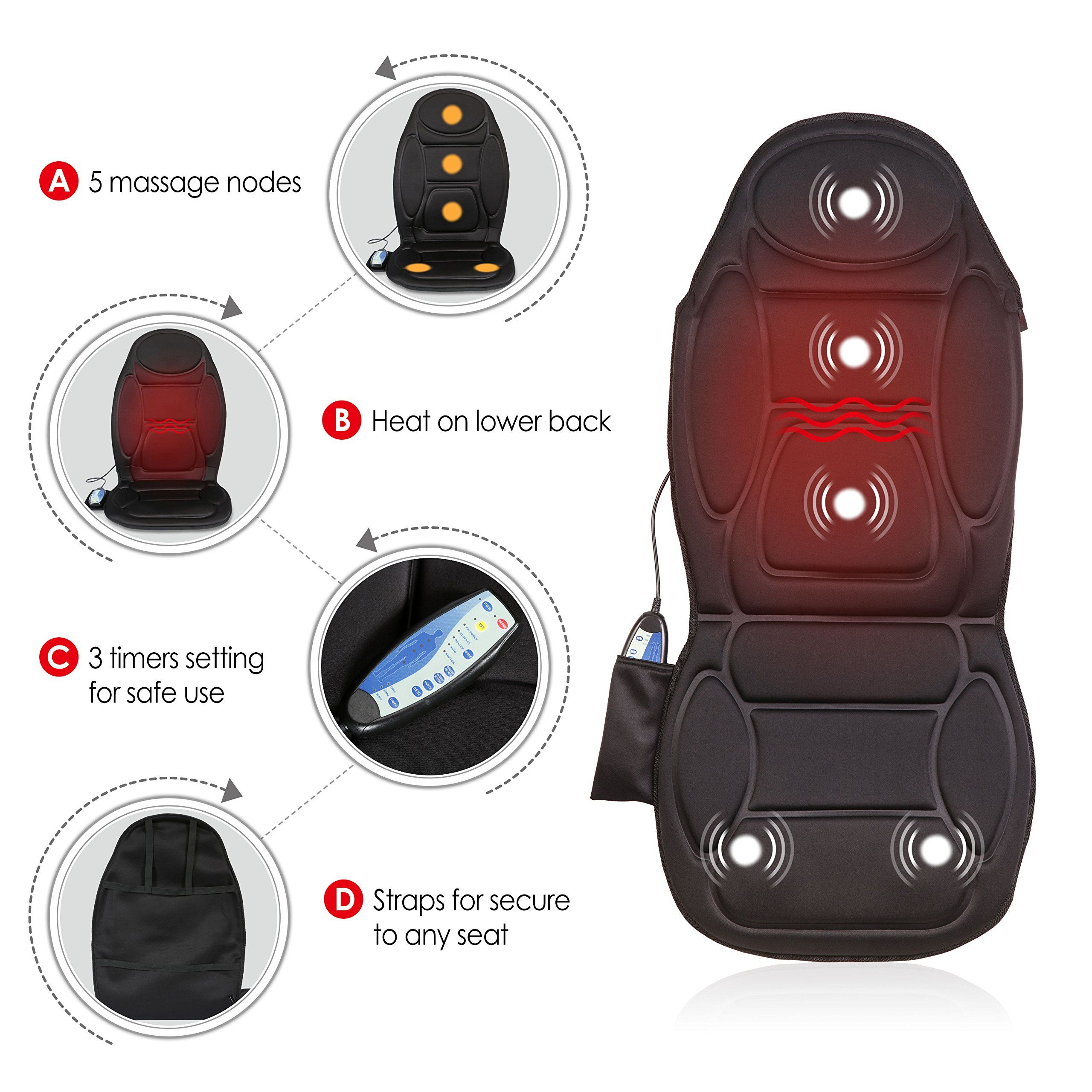 Seat Cushion Vibrating Massage Cushion With Heat Therapy For Back