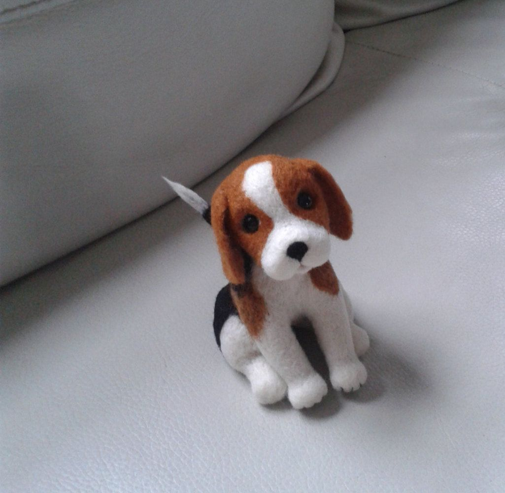 Needle Felted Animal, miniature Beagle, Felted Dog, Beagle ...