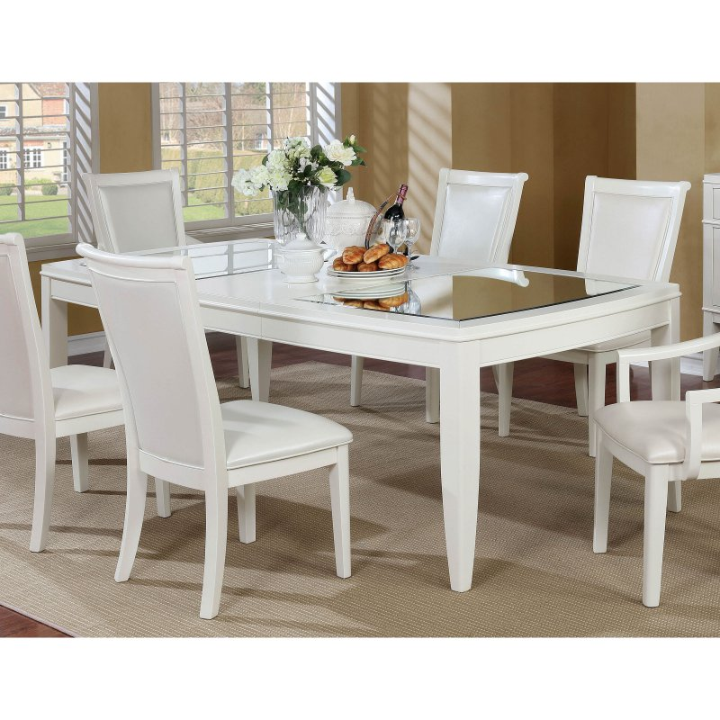 Furniture Of America Lavida Mirror Top Dining Table Dining Table