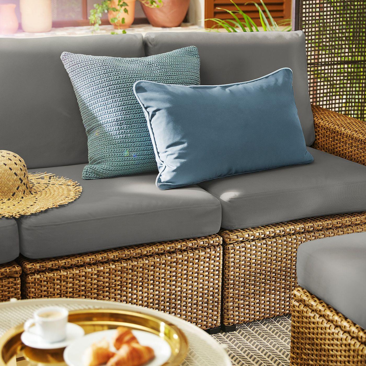 Solleron 3er Sitzelement Aussen Braun Froson Duvholmen Dunkelgrau Ikea Osterreich In 2020 Orange Sofa Design Ikea Blue Sofa Design