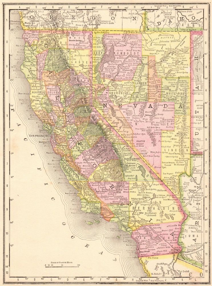 Details about 1888 Antique CALIFORNIA and NEVADA Map Vintage State ...