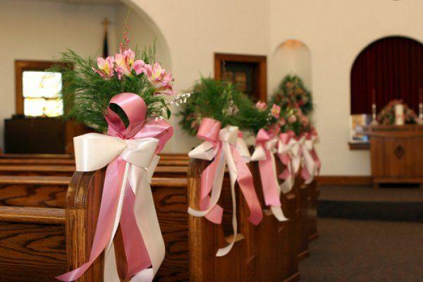 Church Wedding Flower Pink Alstromeria With Tree Fern And Ribbon