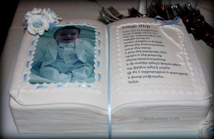 Bible Cake for her bday. Collage of pics of her growing ip ...