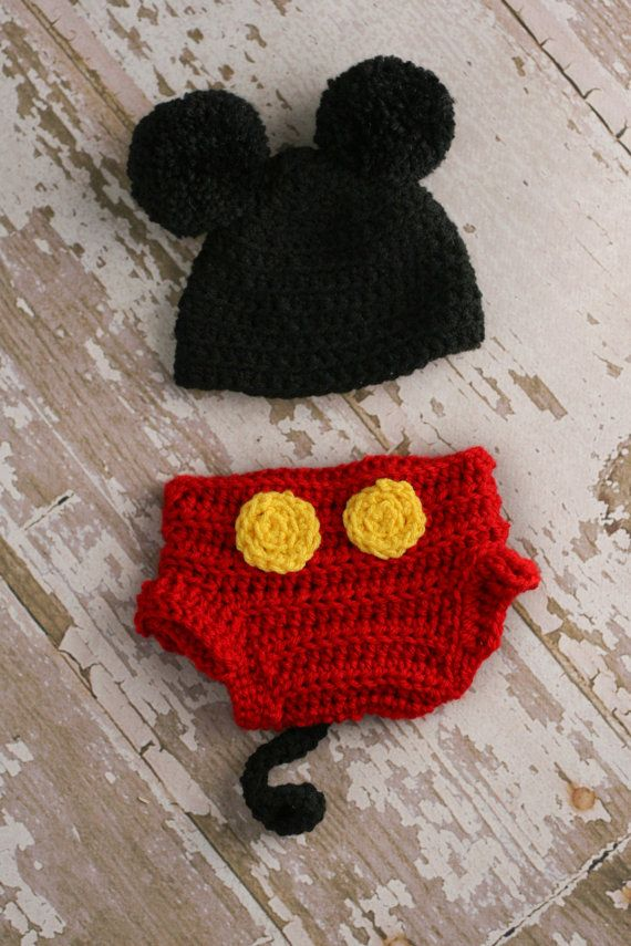 Mickey Mouse Hat and Diaper Cover for Baby Photography!  2f8c0b4a1733