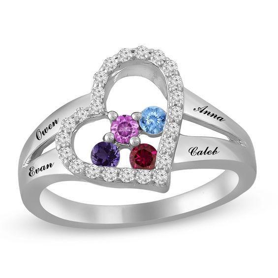 Zales Mothers Birthstone Split Shank Ring in Sterling Silver (3-5 Stones) szlBwh9d