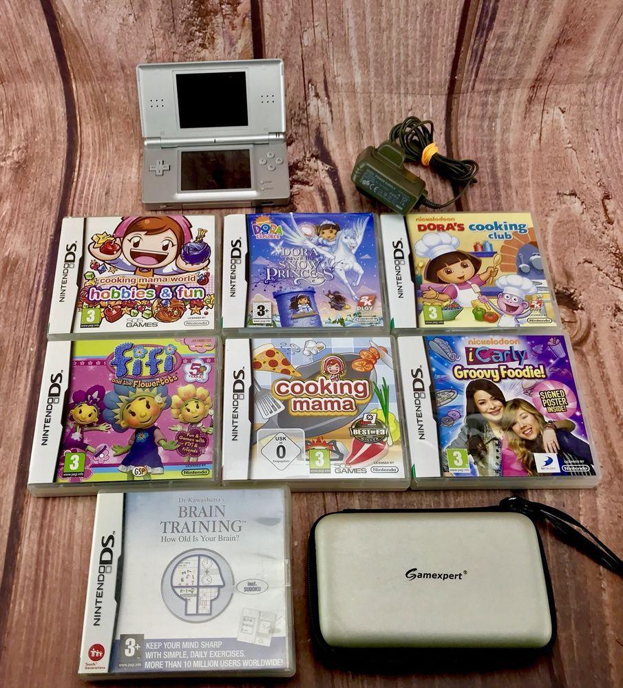 Nintendo Ds Lite Bundle 7 Games Charger Case Silver Console