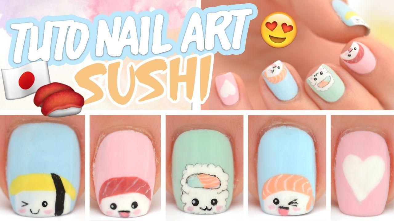 Nail art ♡ Sushi et California roll Kawaii❤Thank❤You❤ - Nail Art ♡ Sushi Et California Roll Kawaii❤Thank❤You❤ Nail Art
