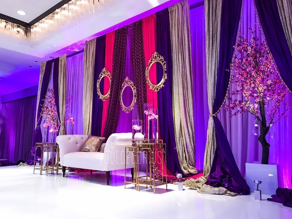 Indian Wedding Reception Backdrop Pink Purple And Gold