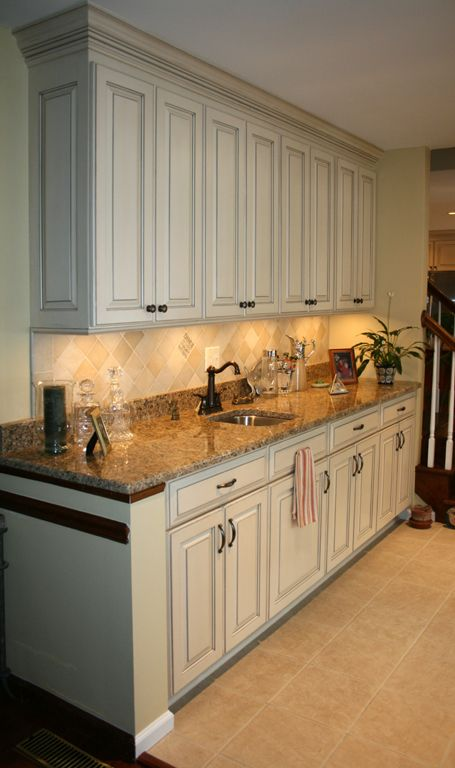 Painted And Glazed Kitchen Cabinets Bar