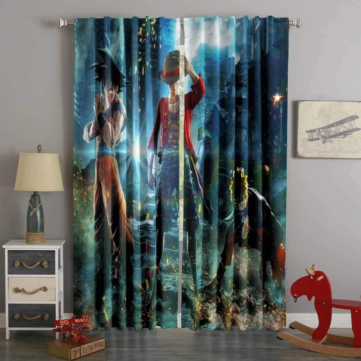 Printed Goku Monkey D Luffy Naruto Style Custom Living Room Curtains