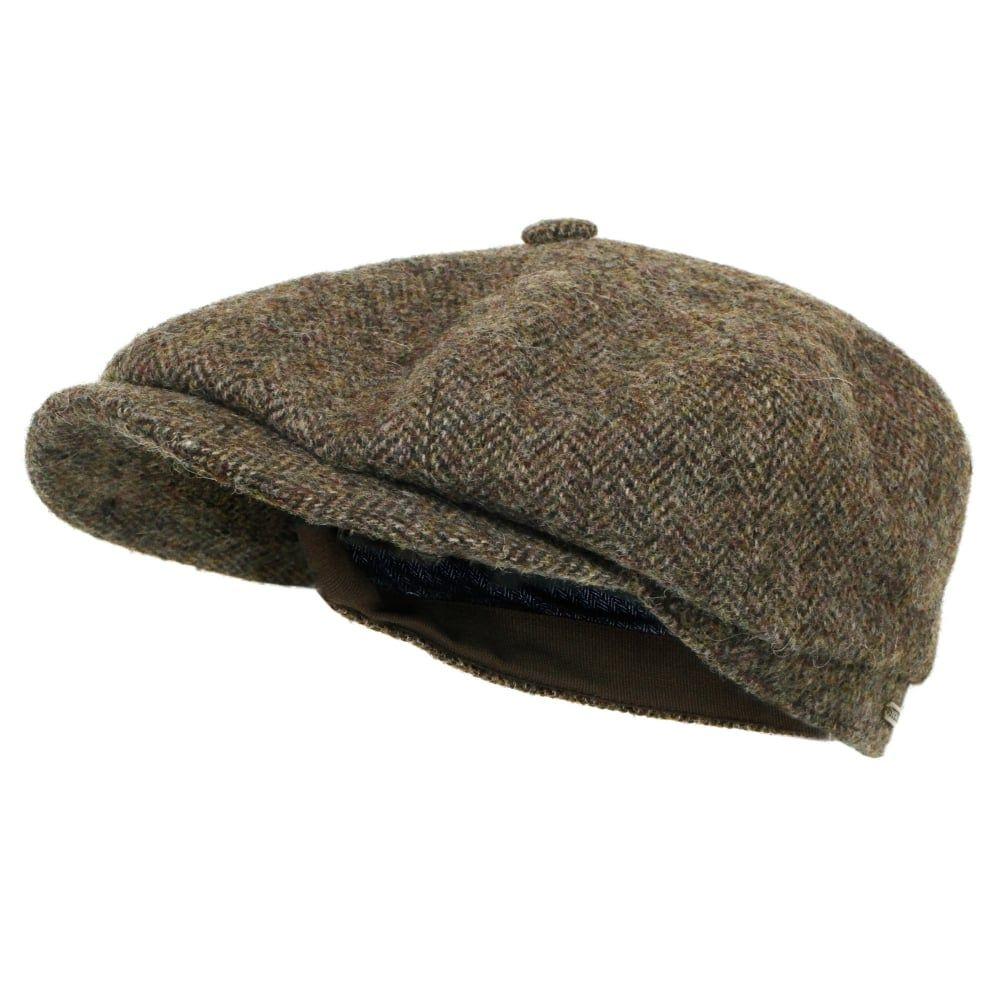 f7e753a3dfb5de Stetson Hats Stetson Hatteras Woolrich Herringbone Brown Newsboy Hat ...