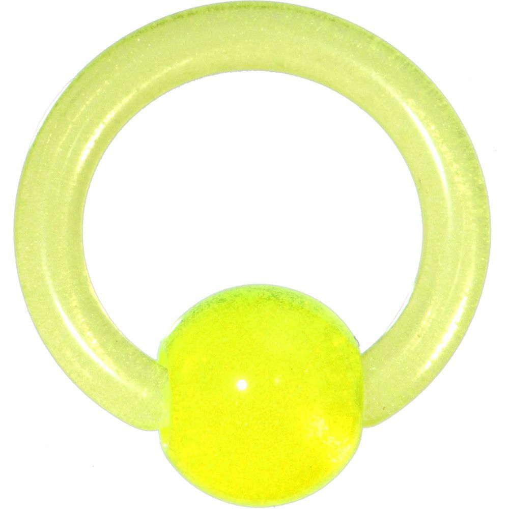 10 Gauge Light Green UV Glow in the Dark Ball Captive Ring