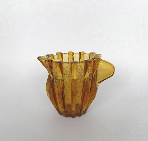 1930 Vintage Art Deco Milk Jug Creamer Amber Pressed Glass by Stolzle Glass Company $18