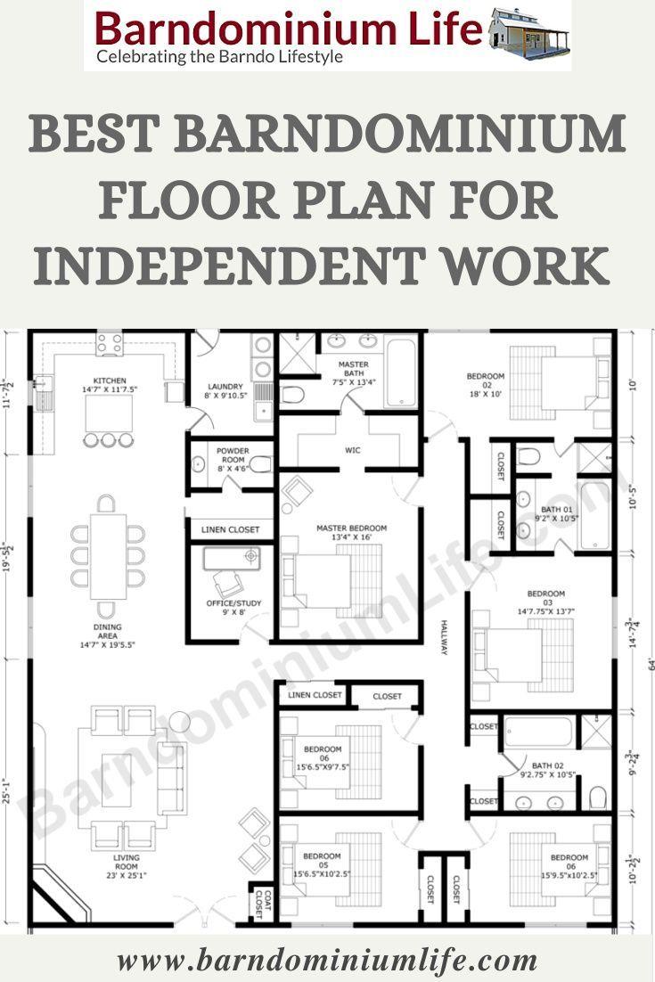 Best Barndominium Floor Plan For Independent Work Or Study Barndominium Floor Plans How To Plan House Layout Plans