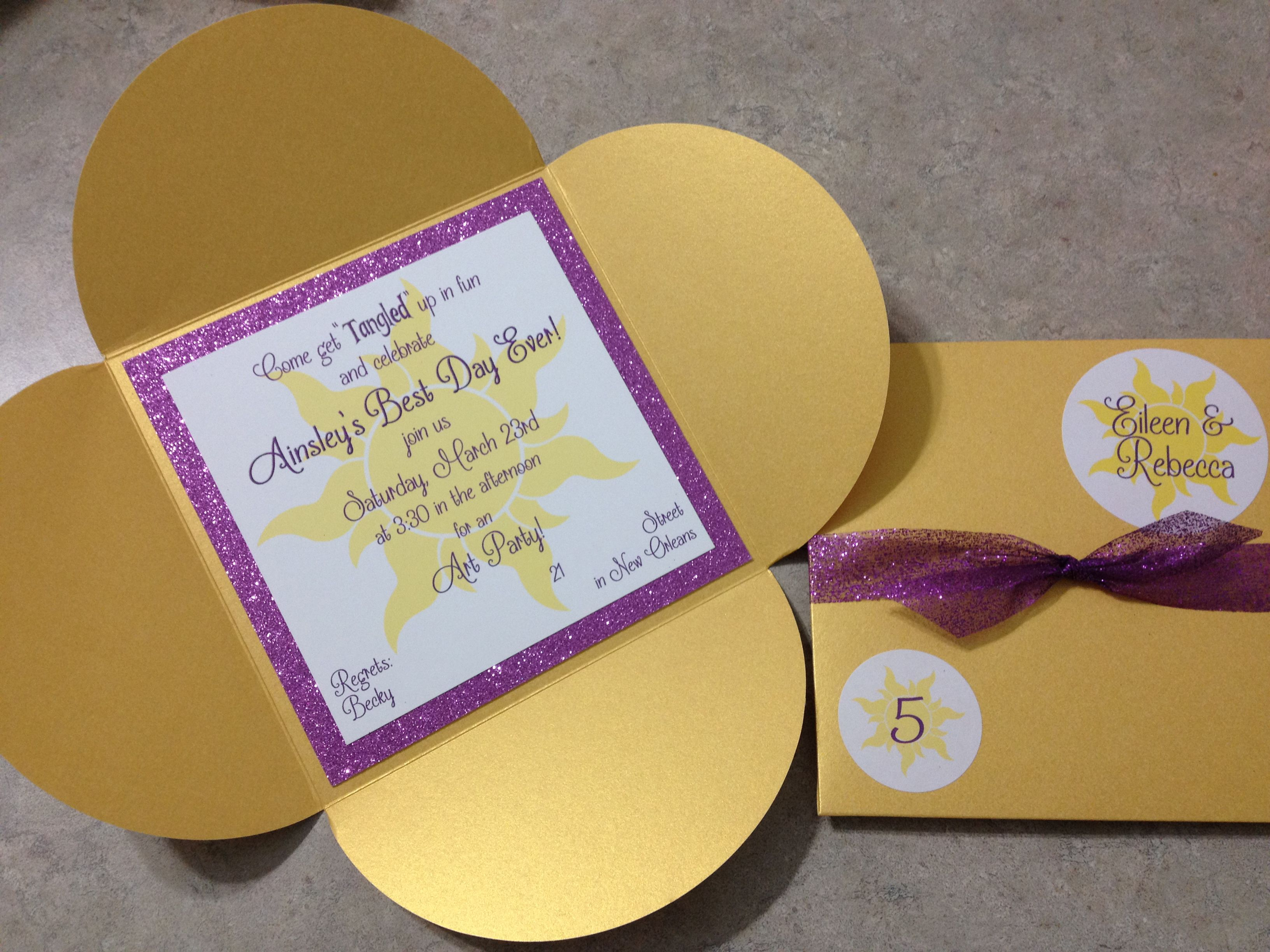 Magic Golden Flower Invitation Made From Cards & Pockets Gold