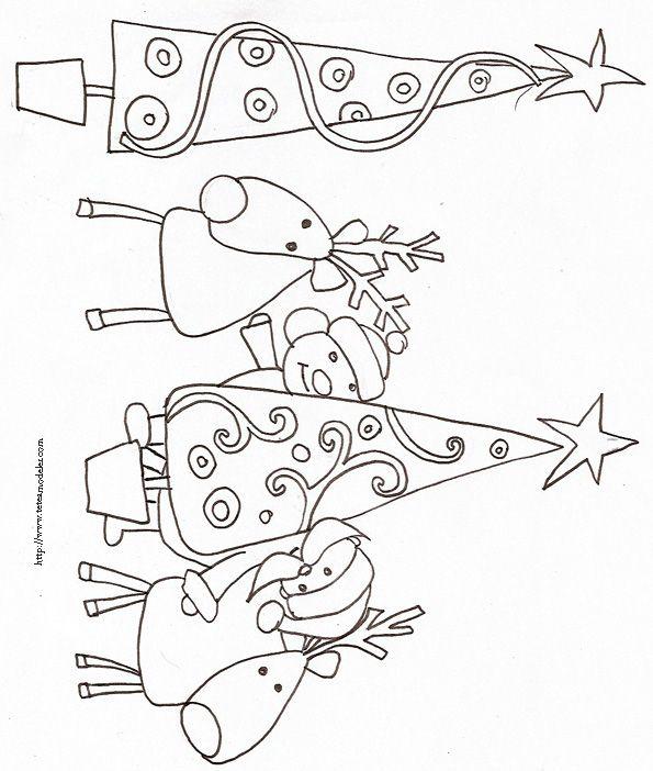 Coloriage des rennes cach s dans les sapins rennes noel and brazilian embroidery - Dessin de rennes ...