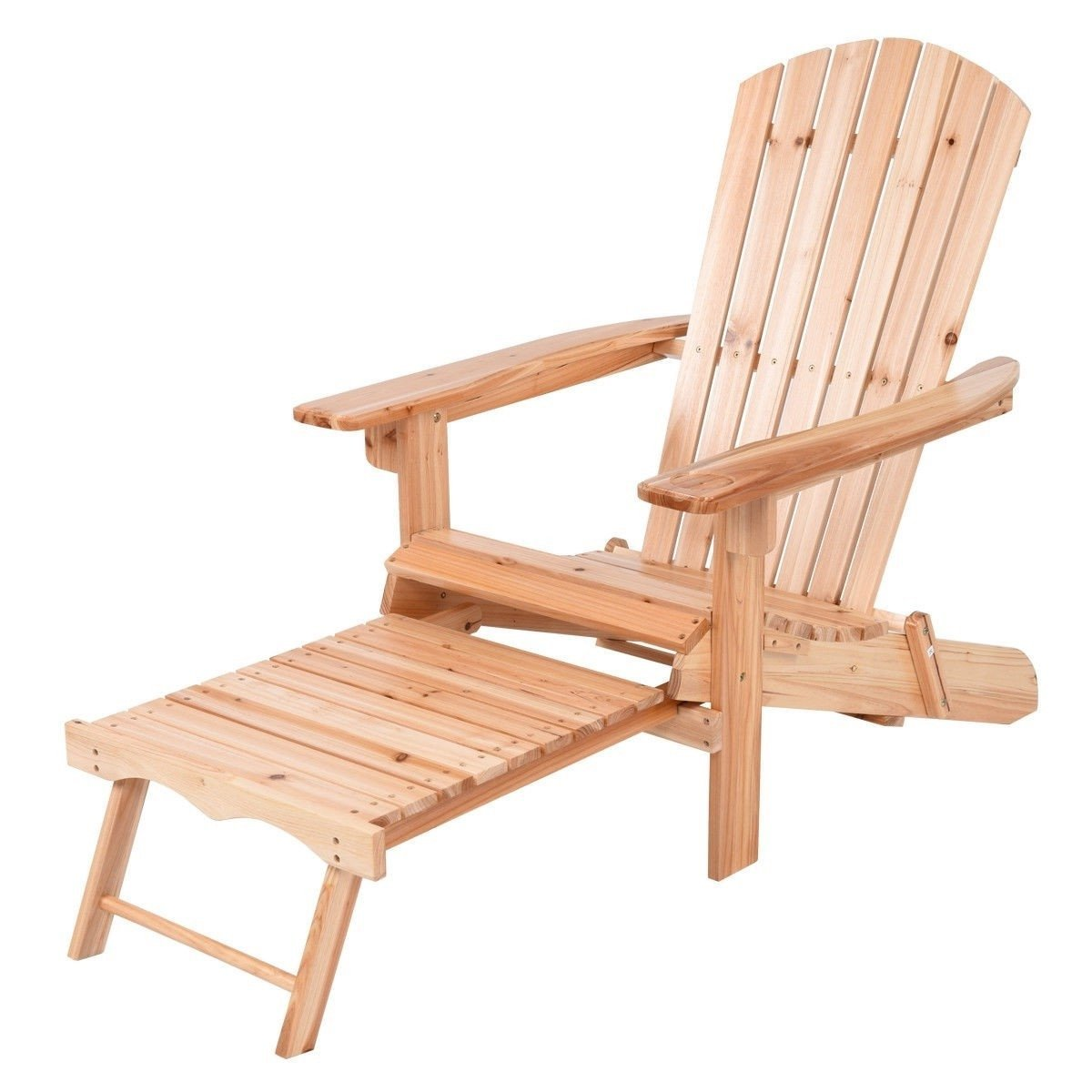 Unfinished Wood Adirondack Chair With Retractable Foot Rest