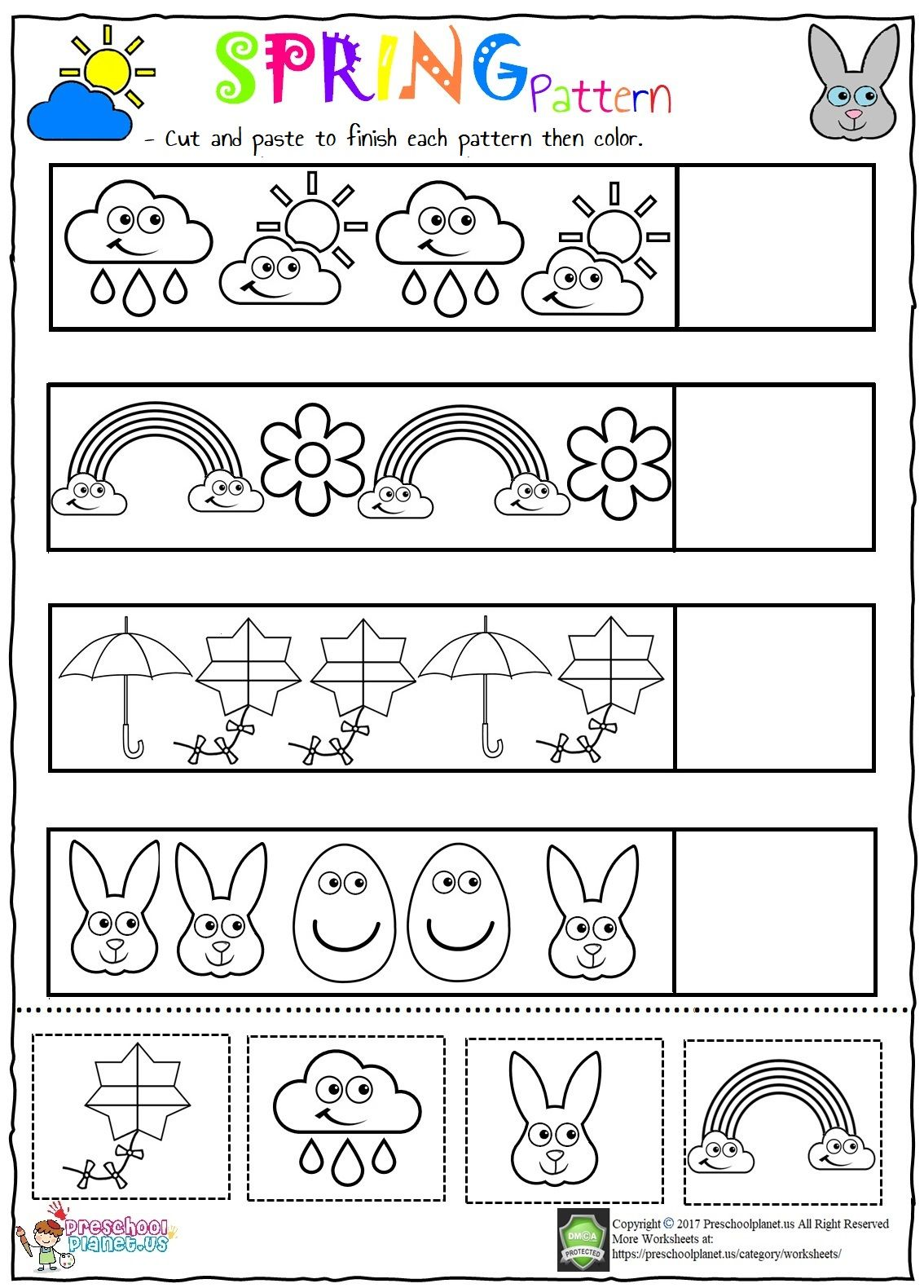 Pattern Time Here Is Spring Themed Pattern Worksheet For