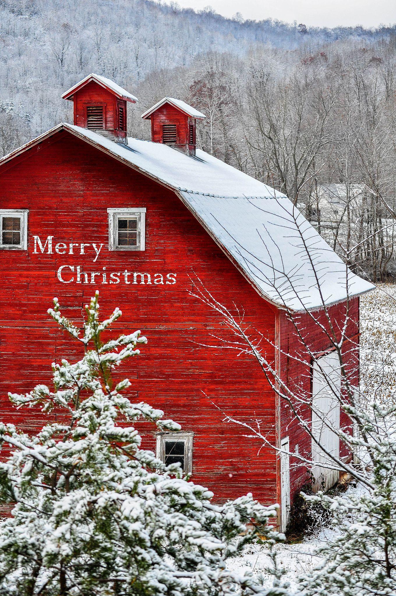 .~Christmas Barn~. @adeleburgess … | Christmas scenery ...