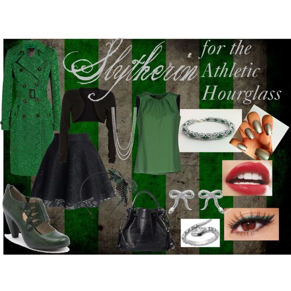 """""""Slytherin for the Athletic Hourglass"""" by stevie-sm-williams on Polyvore  sneakygeekyfashion.blogspot.com"""