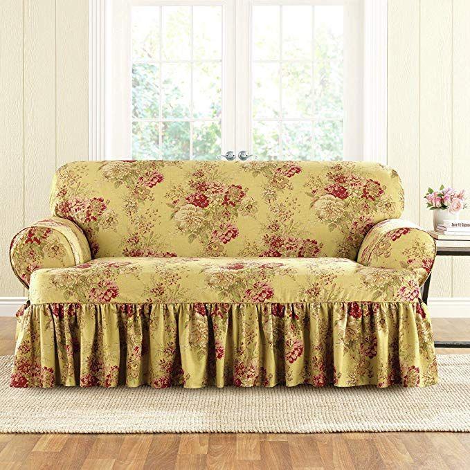 Outstanding Sure Fit Ballad Bouquet Waverly One Piece Loveseat Slipcover Short Links Chair Design For Home Short Linksinfo