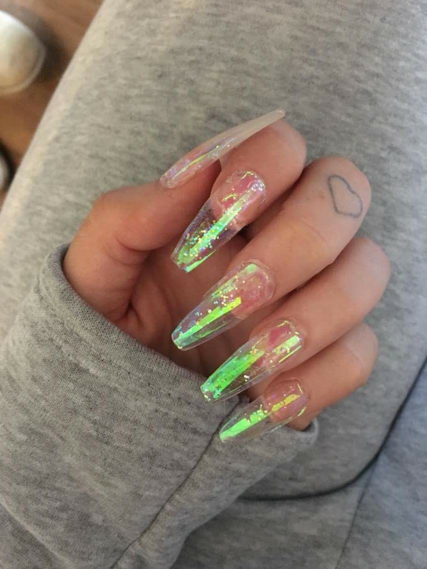 X Iridescent Klaws Clear Glitter Rainbow Glue On False Nails Extra Long
