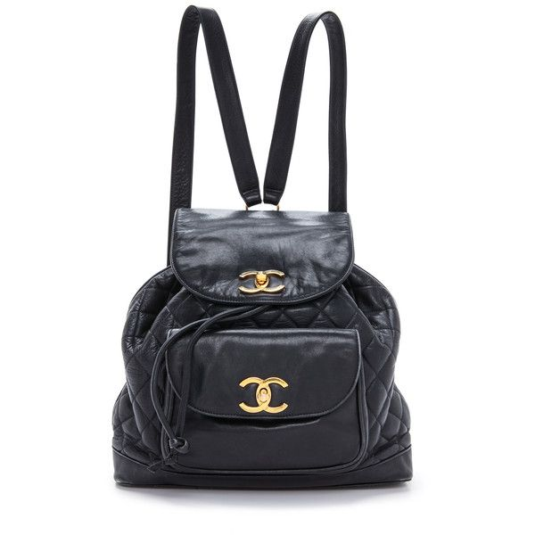 What Goes Around Comes Around Chanel Cc Backpack Navy 3 995 Liked On Polyvore Featuring Ba Vintage Leather Backpack Vintage Leather Bag Leather Rucksack
