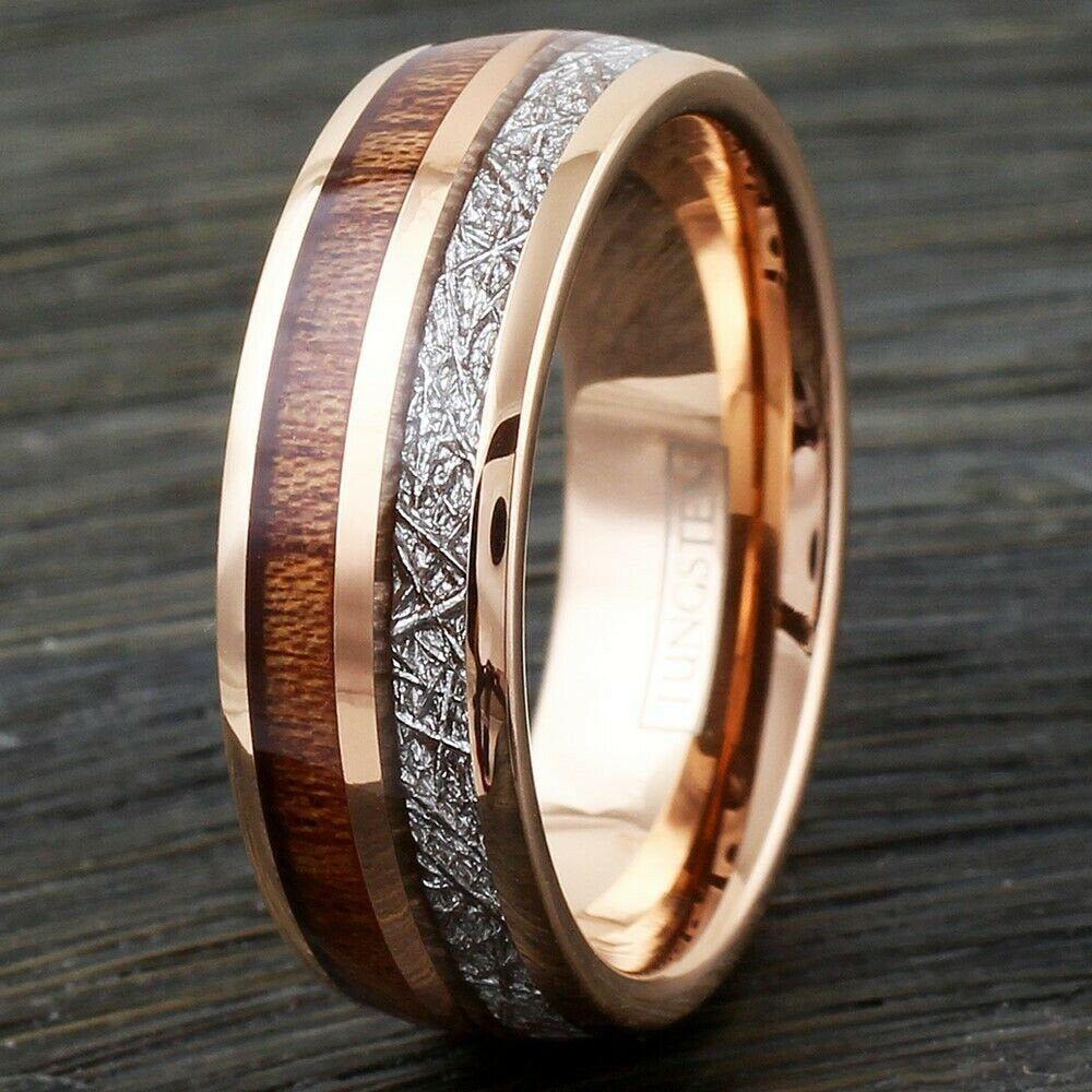 Rose Gold Tungsten Wood & Meteorite Wedding Band Ring