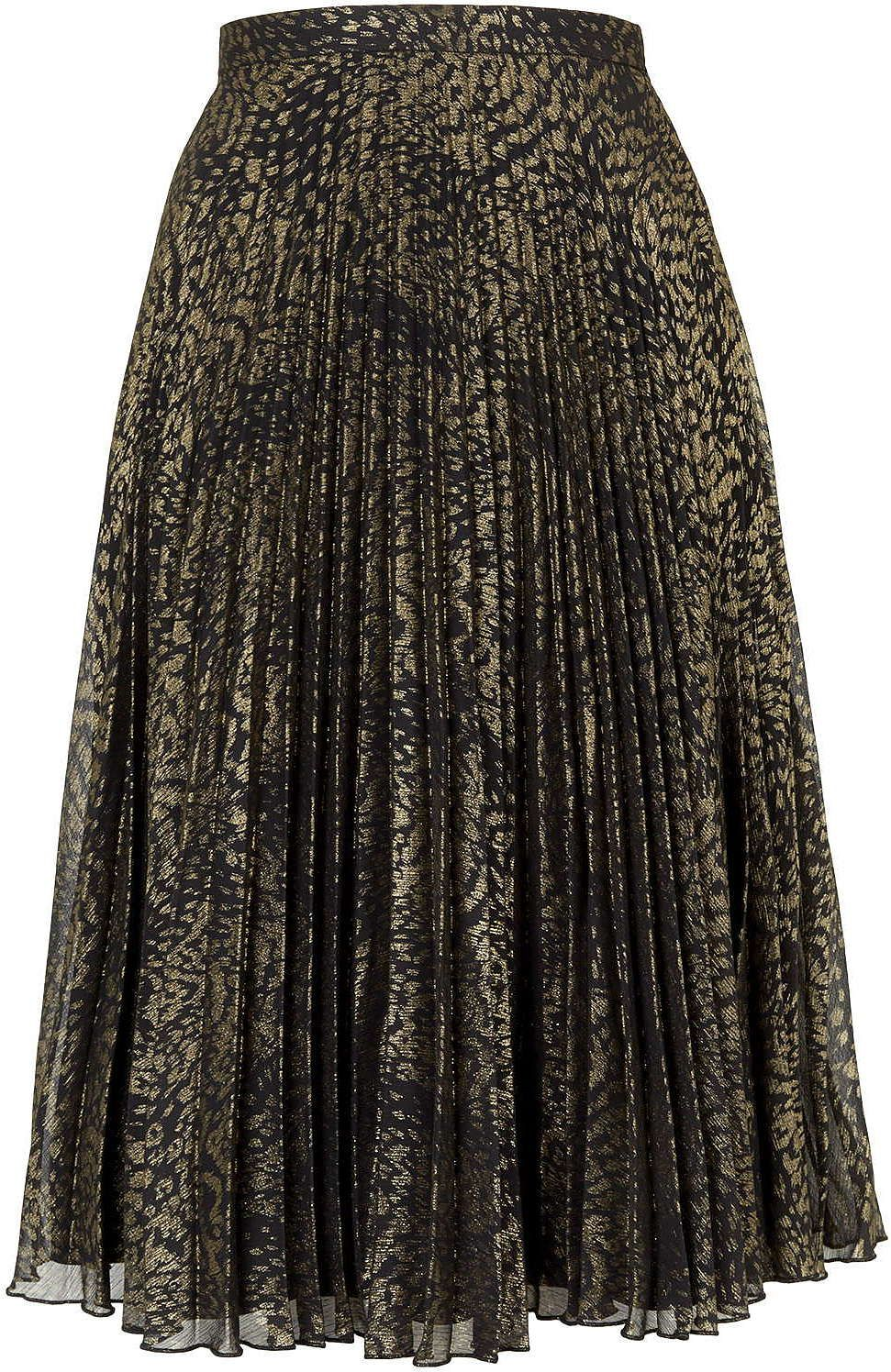81eb9f1a3 Womens gold animal print pleated midi skirt from Topshop - £60 at  ClothingByColour.com