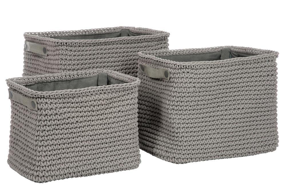 Set van 3 mand rechthoekig hoog touw katoen grijs 40x30x34cm