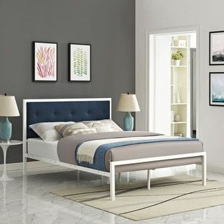 Shop for Lottie Azure Button Tufted Fabric White Bed Frame. Get free shipping at Overstock.com - Your Online Furniture Outlet Store! Get 5% in rewards with Club O!