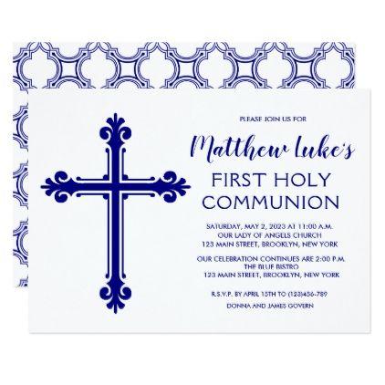 Elegant Cross First Communion Invitation for Boys Communion - invitation templates holy communion