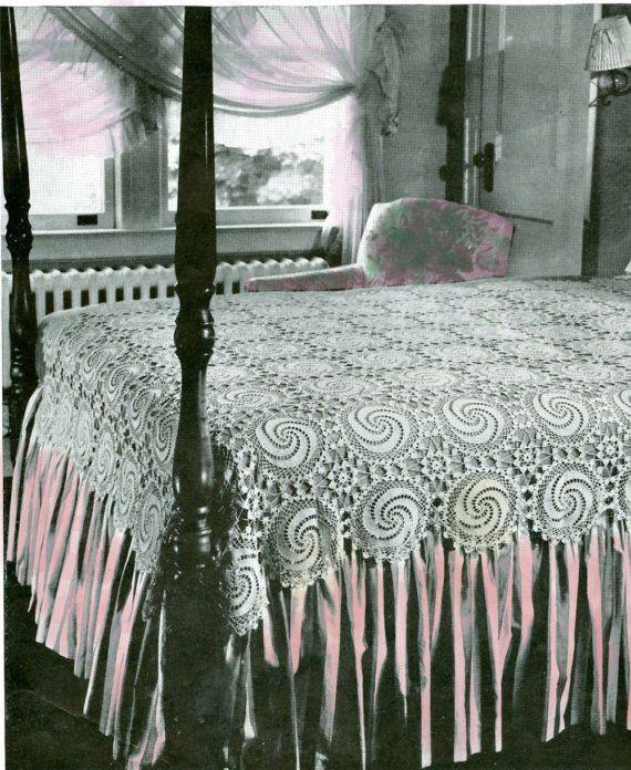 Crochet Bedspread Pattern Heavenly Swirl LACE Heirloom Spiral Motif ...