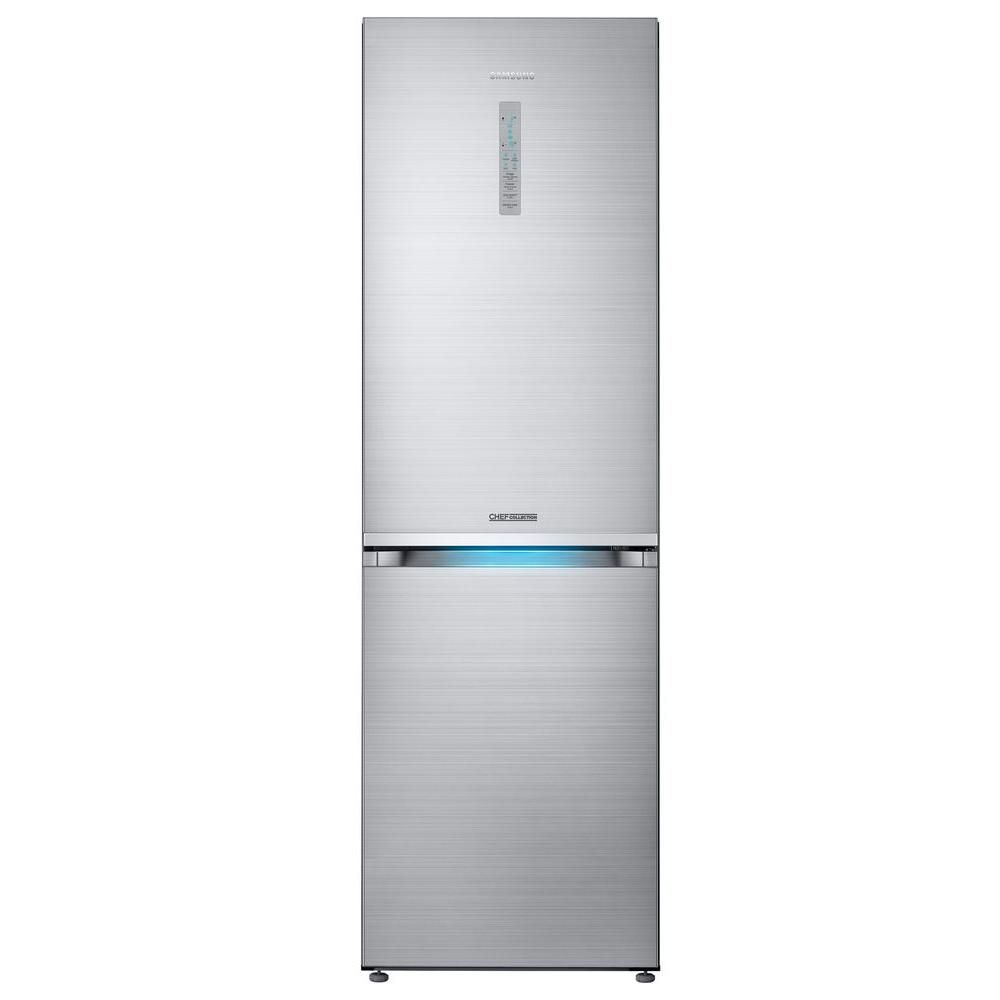 Samsung Chef Collection 24 In W 12 3 Cu Ft Bottom Freezer Refrigerator In Stainless Steel Counter Depth Rb12j8896s4 The Home Depot Narrow Refrigerator Bottom Freezer Refrigerator