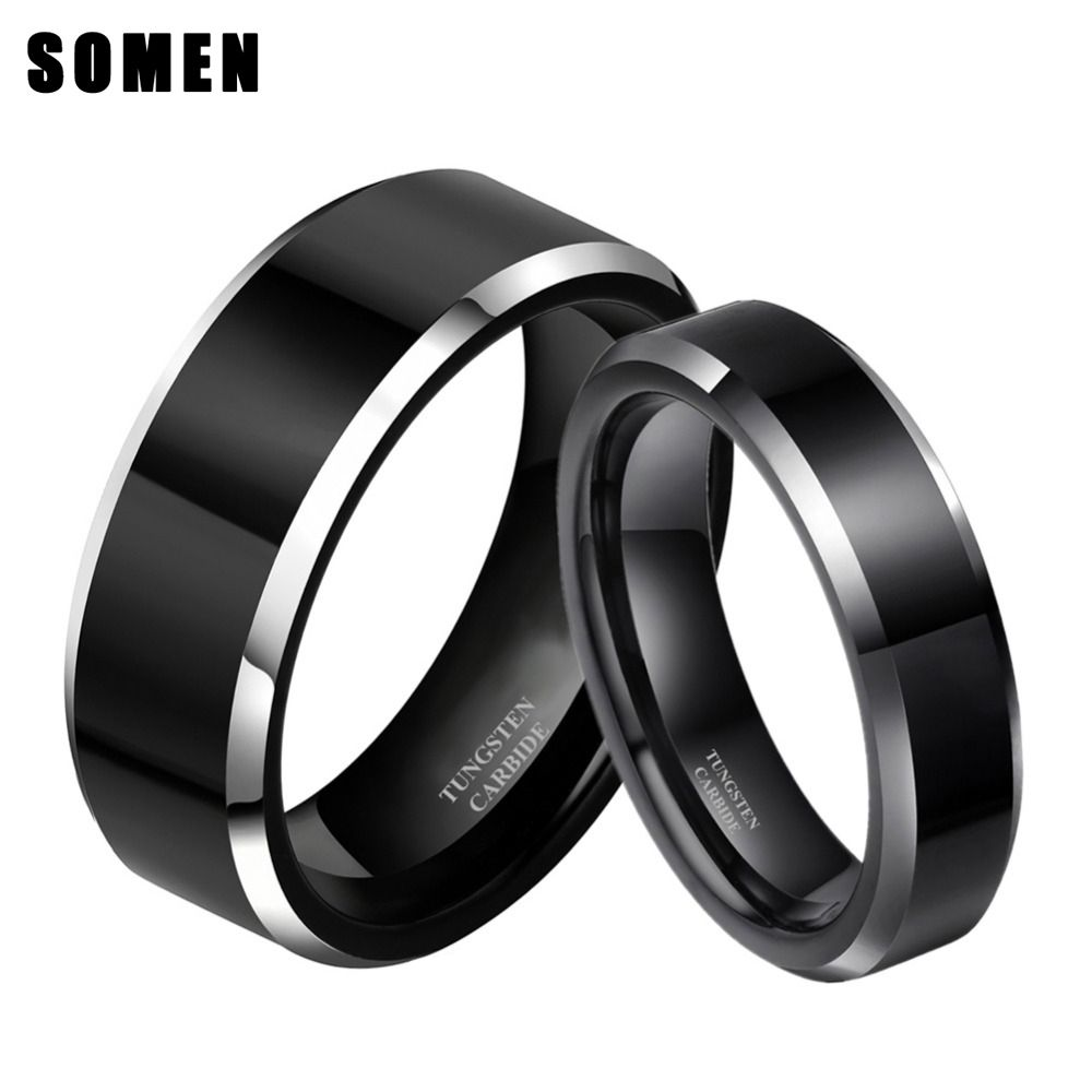 6mm U0026 8mm Men Women Titanium Engagement Wedding Bands Couples Rings Sets  Two Tone Polished Alliance