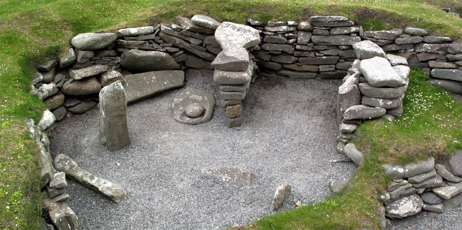 Iron Age Dwelling at Jarlshof, South Mainland, Shetland, Scotland.  Photo by J. Demetrescu 2010 | A multi-period settlement complex that was in use from the bronze age until the 19th century -- over 3,500 years of virtually continuous occupation. The oldest remains, to the east of the site date back to the Bronze Age and early Iron Age periods.